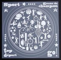 Plaque de Priplak imprimé Sport 19x19cm