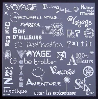 Plaque de Priplak imprimé Voyage 19x19cm