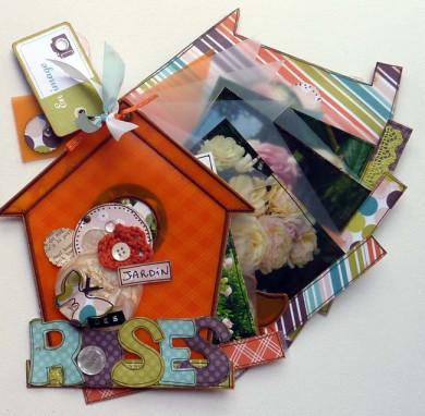 FT n° 54 Kit Mini-Album Nichoir mandarine brodé